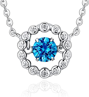 Love Heart Pendant Necklace Simple Elegant Chain for Women Ladies Girls Jewelry Gifts Wedding Engagement Anniversary Blue