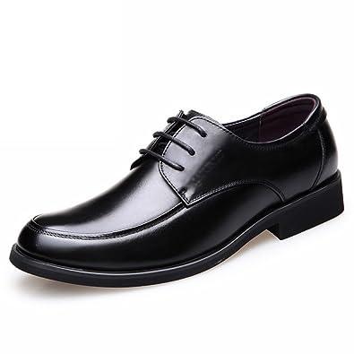 LYZGF Hommes Gentleman Affaires Occasionnels Mode Jeunes Mariages Hasp Chaussures en Cuir,Black-38
