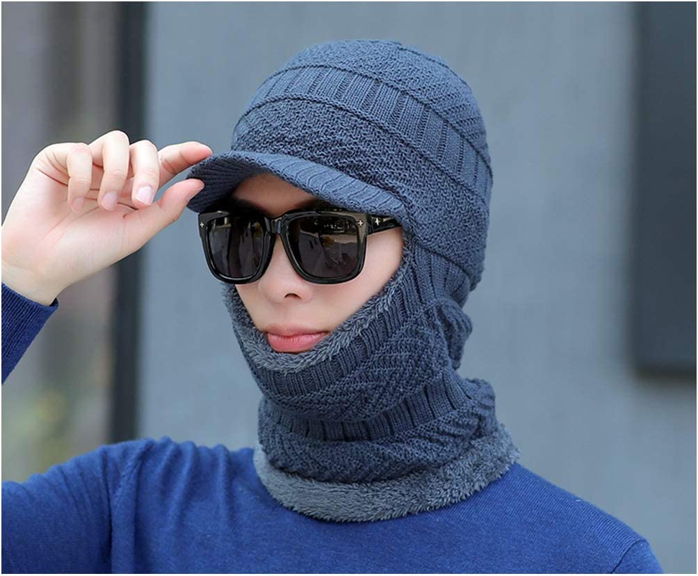 Jiayi Ear Protection Hat Male Winter Plus Fleece Hat Bib All-In-One Thickened Riding Hat Autumn And Winter Mens Hat Neck Protective Coveralls,Blue