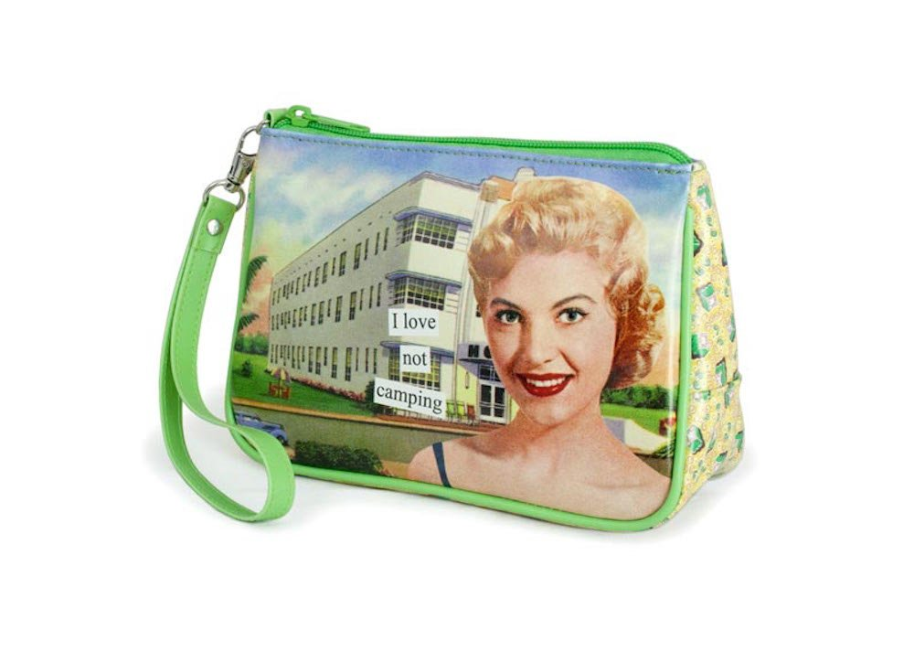 Anne Taintor Matte Vinyl Travel Cosmetic Bag - I Love Not Camping