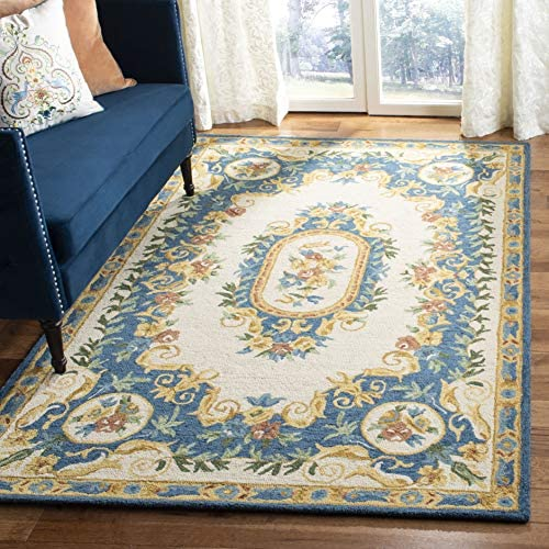 Safavieh MLP601A-8 Micro-Loop Collection Cream and Blue Premium Wool Area Rug