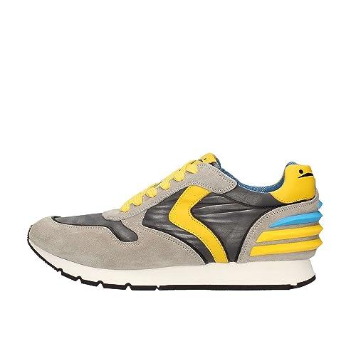 6e5ee43a84243 Voile Blanche Scarpe Sneaker Uomo LIAM POWER VELOUR-TESSUTO 9125  GRIGIO-GIALLO Primavera Estate
