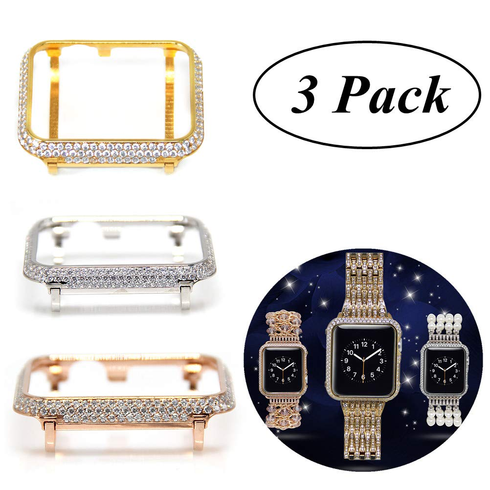 UKCOCO Compatible Apple Watch 42mm Diamond Case, 3 Pack Aluminum iWatch Bezel Metal Cover Crystal Rhinestone Protective Protector Cover for iWatch Series 1/2/3 Sport and Edition (42MM)