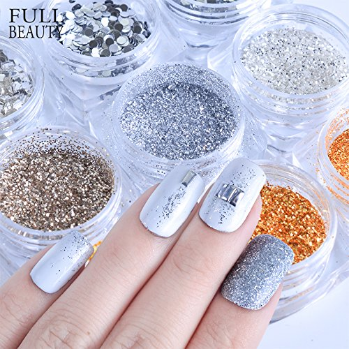 POYING Full Beauty 1 box Nail Sequins 3D Glitter Gold Silver Sparkly Pearl DIY Flakes Powder Paillettes Dust Nail Art Decorations CHGS by POYING