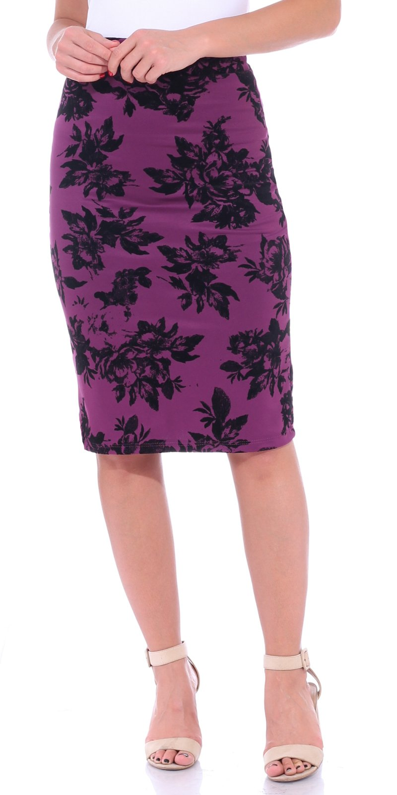 Popana Women's Stretch Pencil Skirt Knee Length High Waist for Work Made in USA Large Eggplant