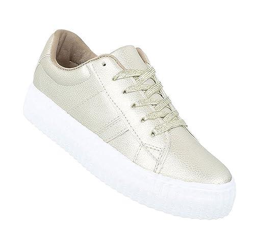 4abdea77d3 Schuhcity24 Sportliche Damen Sneakers | Sneaker Flach | Sportliche Glitzer  Freizeitschuhe | Halbschuhe Plateau Sohle | Metallic Partyschuhe:  Amazon.de: ...