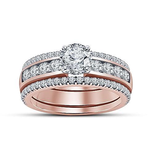 02ea536ecb7f Lilu Jewels Juego de 3 anillos de compromiso para mujer
