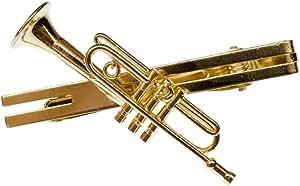 Miniblings Trompeta del Clip de Lazo del Clip de Lazo + Caja de música Trompeta de Oro