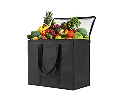 23dd095fd761 1 Pack Insulated Reusable Grocery Bag by VENO, Durable, Heavy Duty, Extra  Large Size, Stands Upright, Collapsible, Sturdy Zipper, Made by Recycled ...