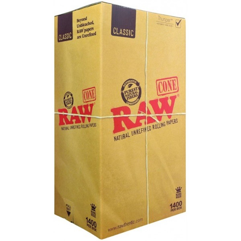 Raw Classic King Size Pre Rolled Cone 1400 Count - Includes a TSC Sticker