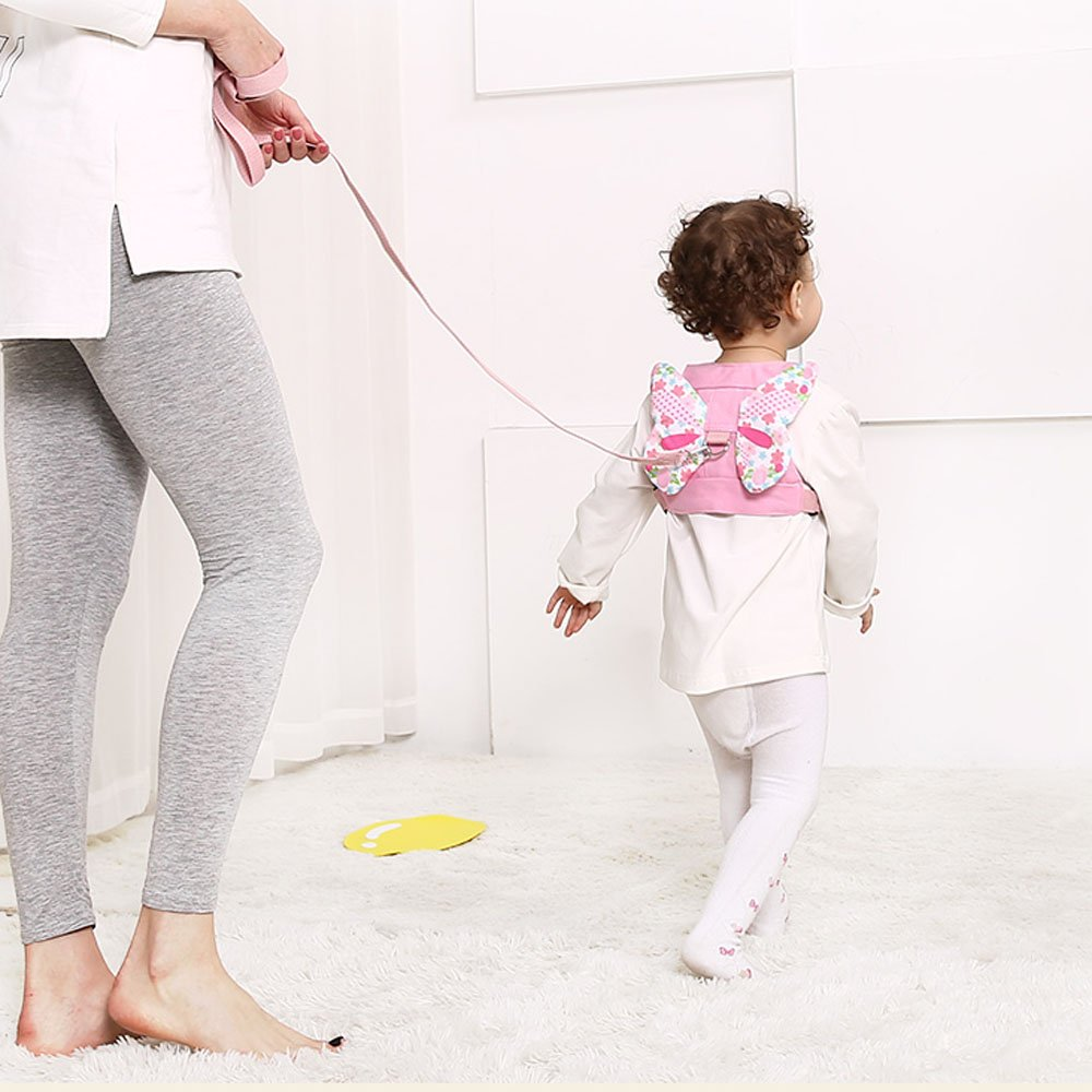 Anti Lost Wrist Link + Toddlers Leash 2 packs Child Walking Safety Harness Kids Wristband Assistant Strap Belt (Butterly pink) by Standard (Image #6)