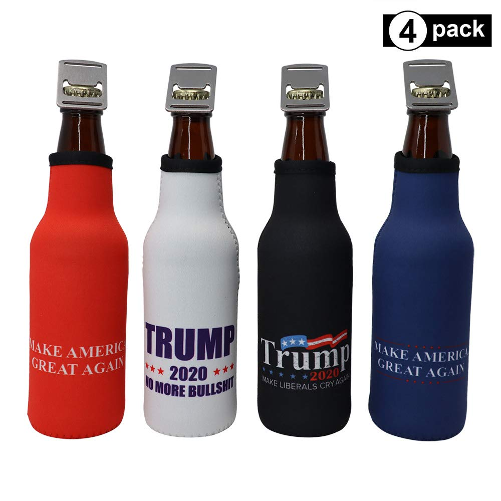 Trump 2020 Beer Bottle Insulator - MAGA Political Swag Cooler Sleeve with zipper and built-in removable bottle opener (Trump 4-Pack) by Lucy's Novelties