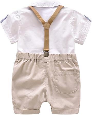 K-youth® Conjunto para Bebé Niño, Ropa Bebe Niño Verano Camisa de Manga Corta Bebé Niño Caballero Corbata de Moño y Pantalones Cortos de Tirantes Conjuntos Bebé Niño