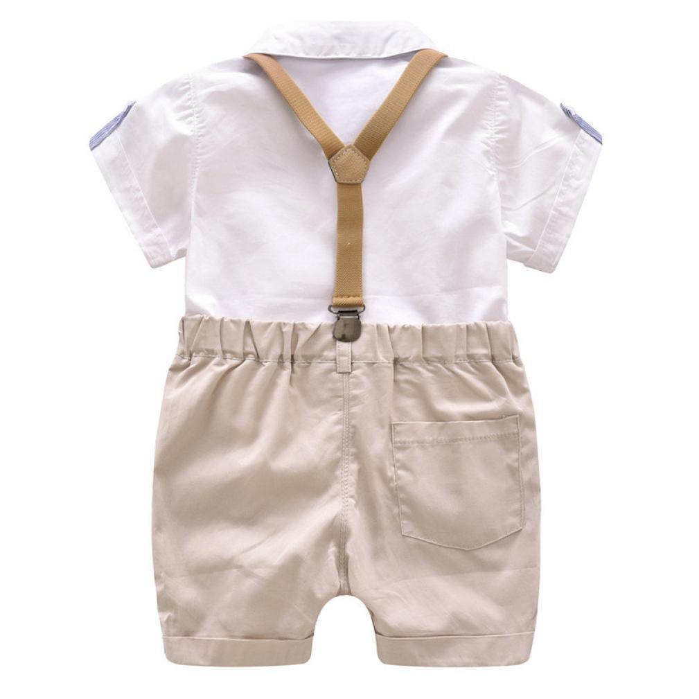 Ropa Bebe Ni/ño Verano Camisa de Manga Corta Beb/é Ni/ño Caballero Corbata de Mo/ño y Pantalones Cortos de Tirantes Conjuntos Beb/é Ni/ño K-youth/® Conjunto Para Beb/é Ni/ño