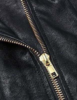 Meaneor Womens Faux Leather Biker Motorcycle Zipper Jacket Coat
