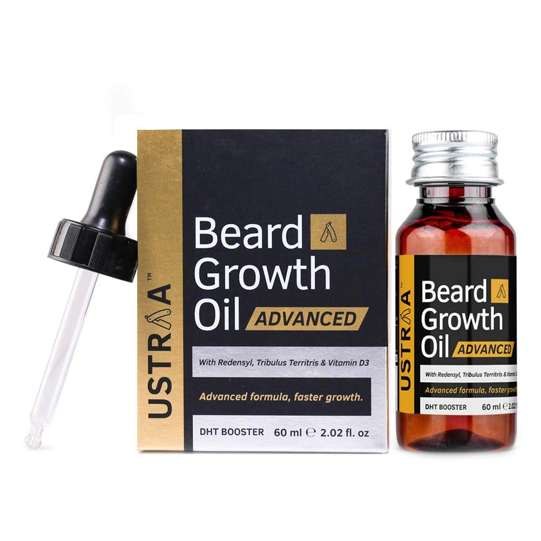 USTRAA Beard Growth Oil Advanced - 2.02 Oz - Beard Growth Oil for Patchy Beard, with Redensyl and DHT Booster, Nourishment & Moisturization, No Harmful Chemicals