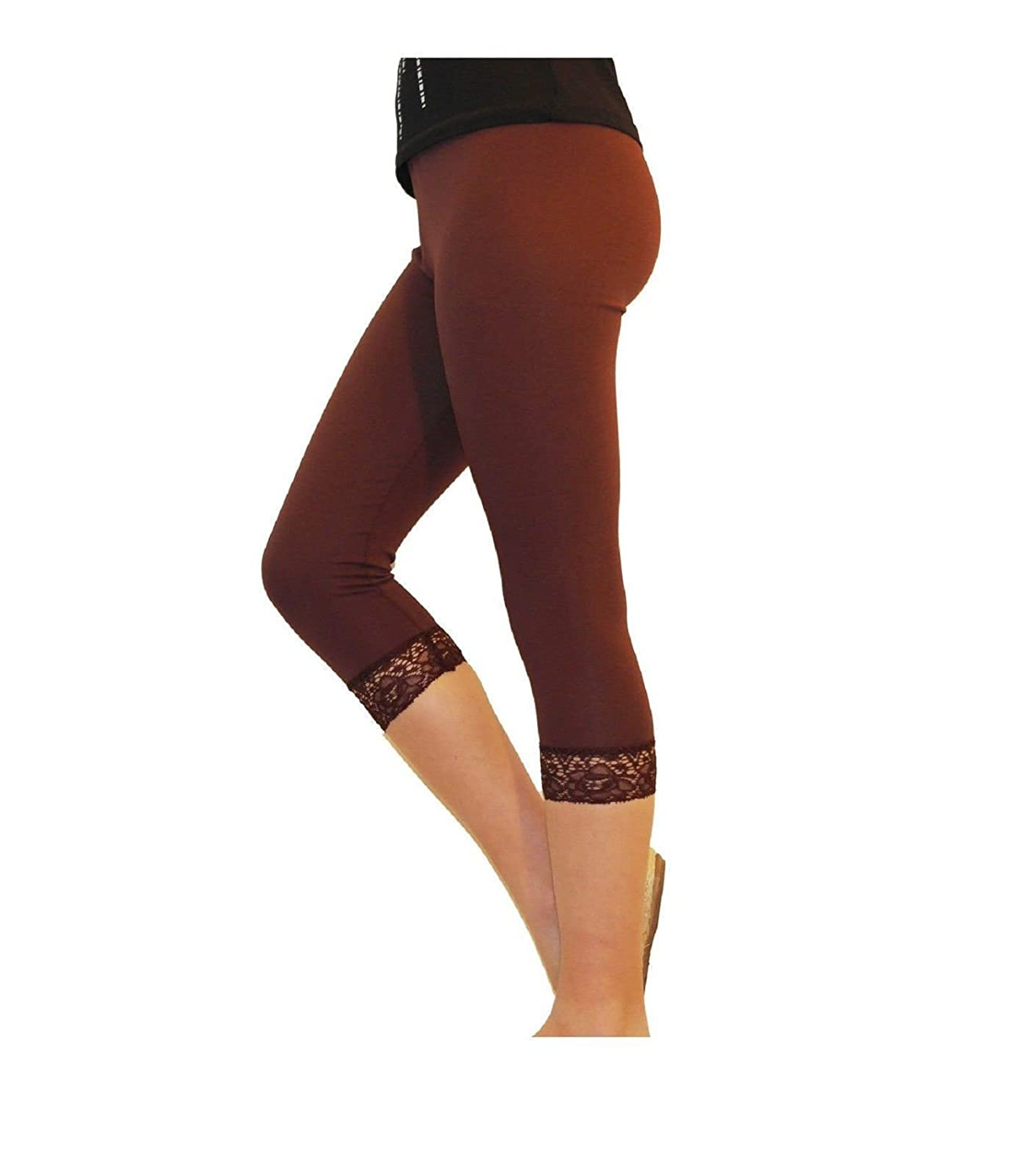 Elegance Girl/'s Cotton Crop 3//4 Stretchy Laced Trim Leggings for Casual//Sport//Active