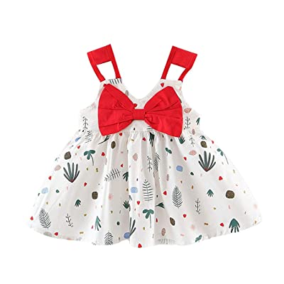 F_Gotal Baby Toddle Girls Dress for 6M-3Y, Kids Cute Strap Bow Dot Print Tutu Skirt Dress Tulle Pageant Dress Princess: Clothing [5Bkhe0207349]