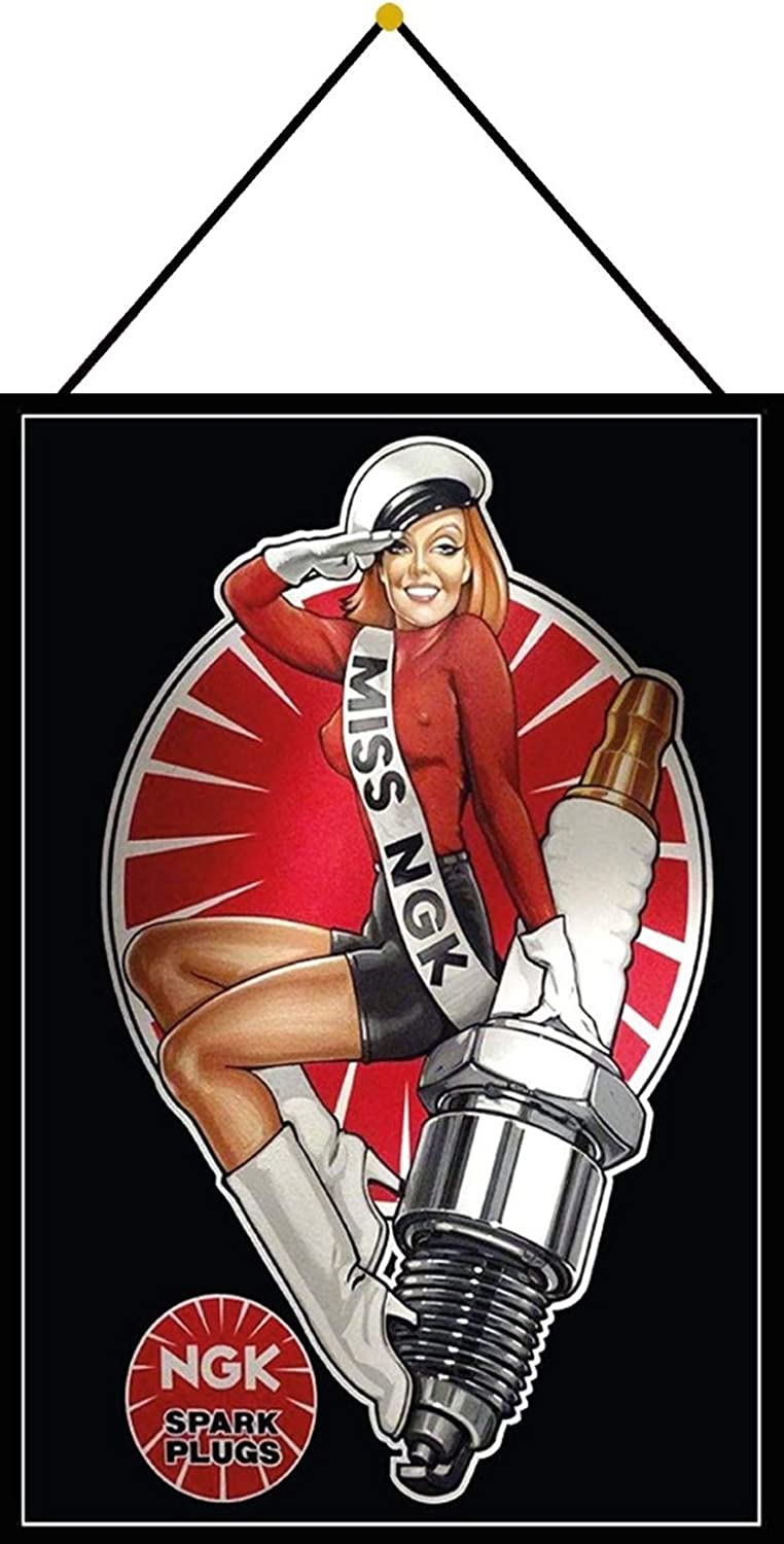 FS Pinup Girl on a Motorcycle Metal Sign Domed 20 x 30 cm