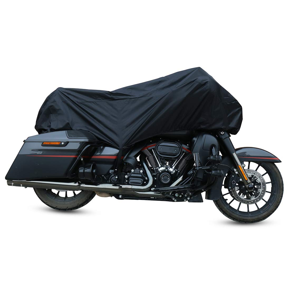 X AUTOHAUX Motorcycle Cover Street Bike Scooter Lightweight Half Cover Outdoor Waterproof Rain Dust UV Protector Black Size M for Honda Kawasaki Yamaha Suzuki Harley Davidson