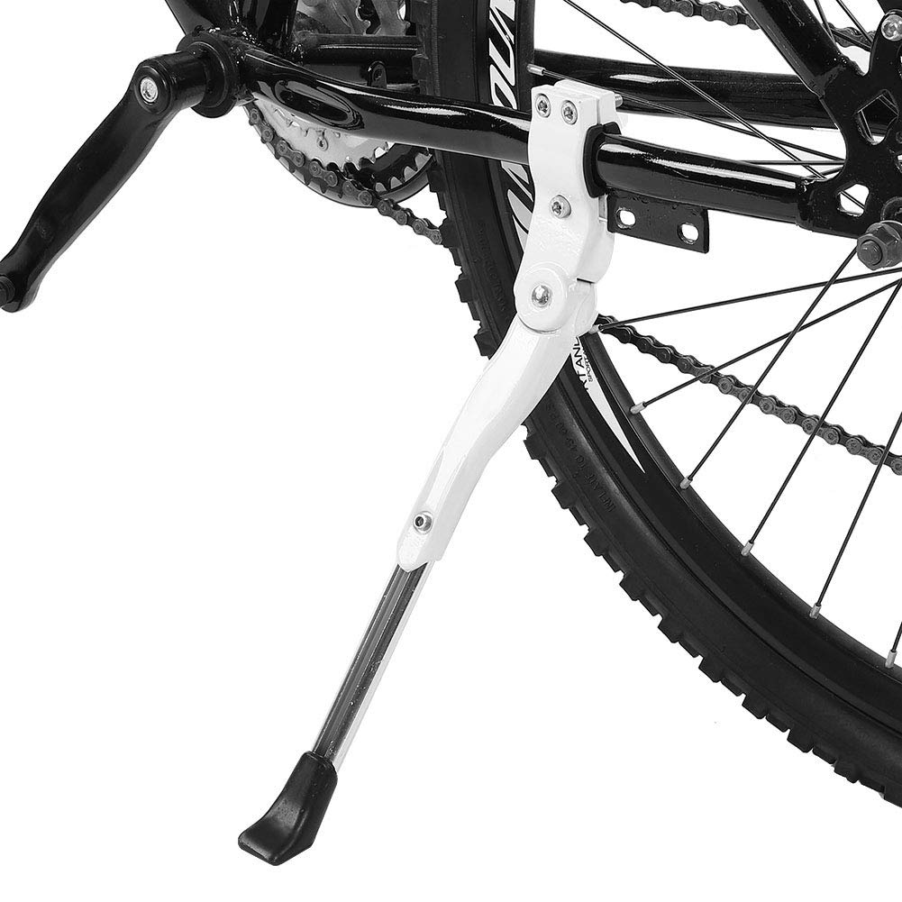 VGEBY1 Bike Kickstand, Aluminium Alloy Cycling Side Support Kick Stand Adjustable Rear Mount Stand Fits for 16'' 20'' 24'' 26'' Bike (White) by VGEBY1
