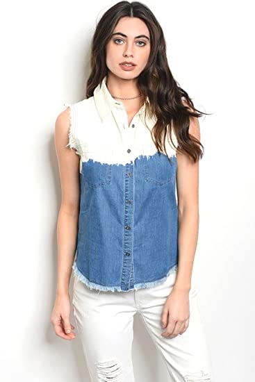 9bba335242 Sleeveless Denim Bleached Two Toned top That Features a Collard Neckline  and Frayed Edges.