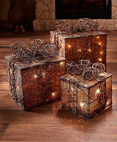 GetSet2Save LLC Lighted Gift Box Decor (Natural) (1) (Present Lights Decorations Christmas)