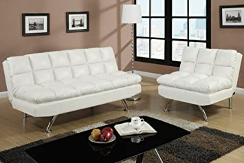 2 pc cream faux leather upholstered futon sofa bed and chair with chrome legs amazon    2 pc cream faux leather upholstered futon sofa bed and      rh   amazon