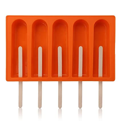 Moldes para Helados de Popsicle de Silicona con Tapa Grado Alimenticio con 50 palos de madera. Pasa ...
