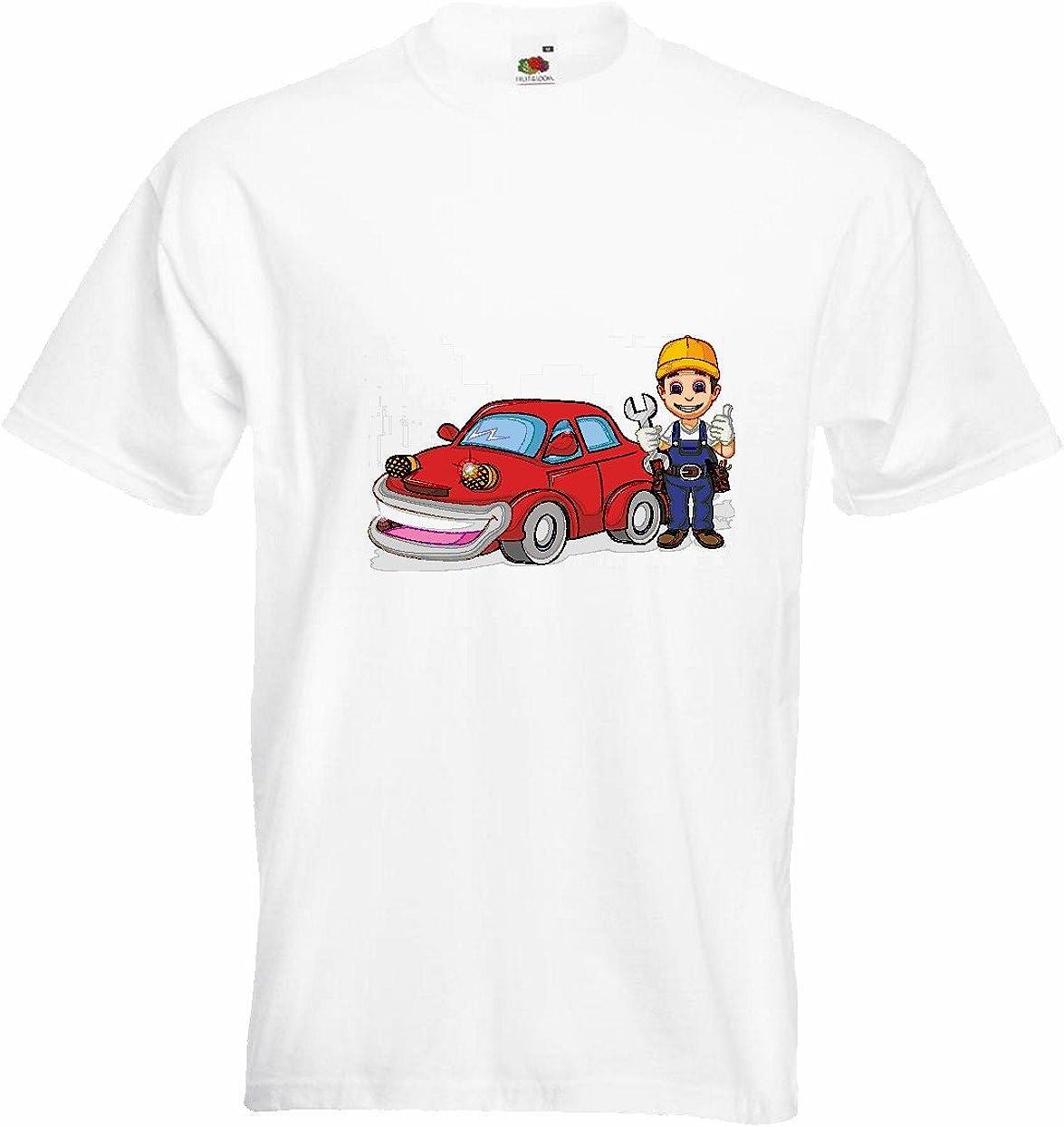 T-Shirt Camiseta Remera Mecánica móvil Automoción Mechatronic EL Taller DE Reparaciones Auto BERUFSKLEIDUNG Auto Reparaciones Meister Coche de reparación de la avería en Blanco: Amazon.es: Ropa y accesorios
