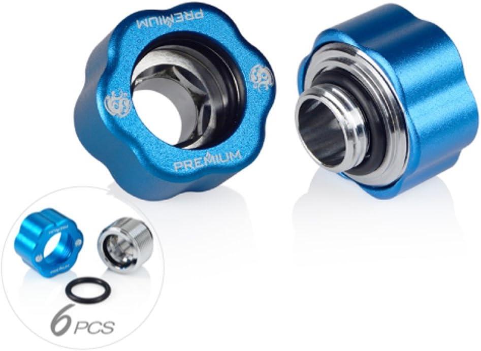 "Bitspower G1/4"" Premium Master Hard Tube Compression Fitting for 16mm OD Rigid Tubing, Abrasive Blue, 6-Pack"