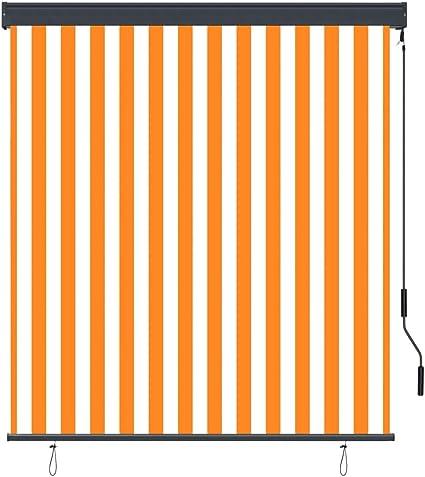 Tenda a Rullo da Esterno 140x250 cm in Fibra di Poliestere Bianca e Arancione con Rivestimento in PA Traspirante Larghezza x Altezza Lechnical Pratiche Tende a Rullo per Esterni