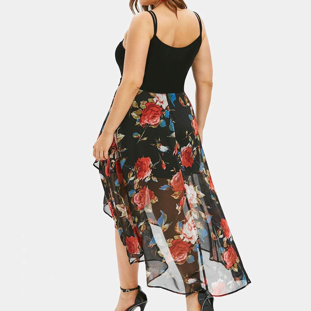 Plus Size Sleeveless Buttons Floral Print Overlay High Low Tank Tops Dress BOLUBILUY Women Plus Size Dresses