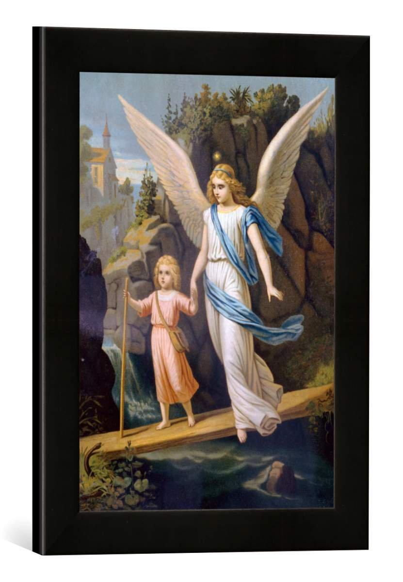 Gerahmtes Bild von Anonymous Schutzengel geleitet EIN Kind über eine Brücke, Kunstdruck im hochwertigen handgefertigten Bilder-Rahmen, 30x40 cm, Schwarz matt