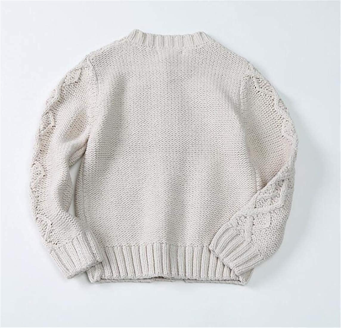 pipigo Boys Jumper Thickened Fit Cable Coat Cute Knit Cardigans