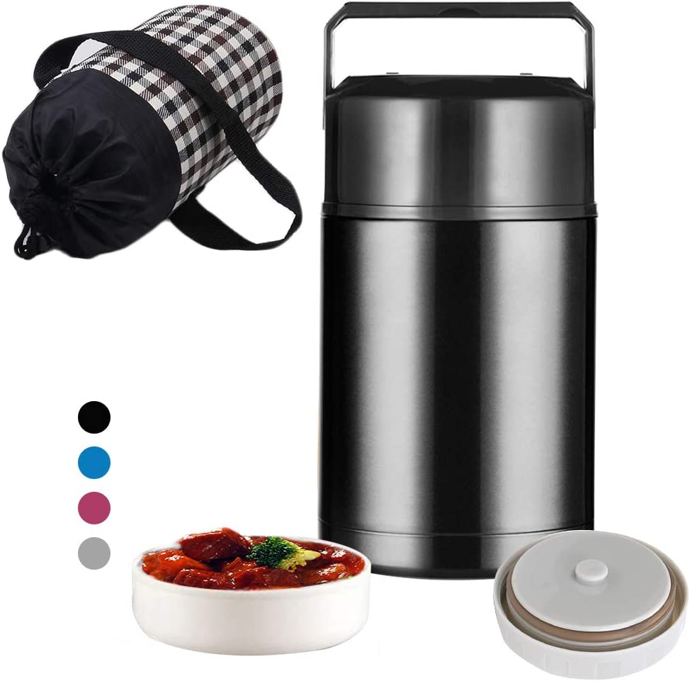 Food Thermos,Micnaron 33oz Stainless Steel Food Jar,Vacuum Insulated Lunch Containers Free Lunch Bag with Handle Lid,Leak Proof Lunch Thermos with a Cloth Carry Bag