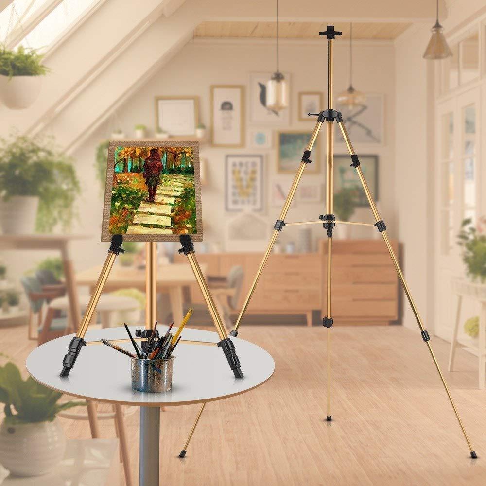 Art Artist Aluminum Easel Field Easel Support Adjustable Height Gallery Aluminum Show Floor Easel Shelf