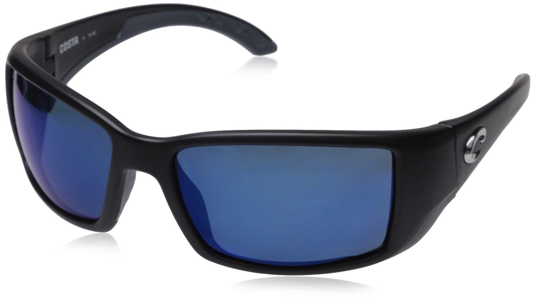 Costa Del Mar Blackfin Sunglasses, Black, Blue Mirror 580 Plastic Lens by Costa Del Mar