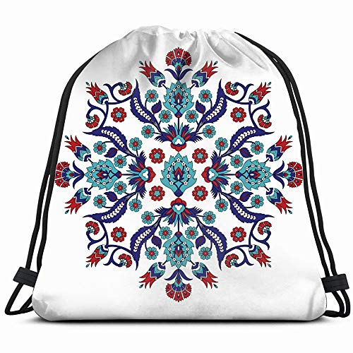 Turkish Arabic Element Ottoman The Arts Arab Vintage Drawstring Bag Backpack Gym Dance Bag Reversible Flip Sequin Bling Backpack For Hiking Beach Travel Bags ()