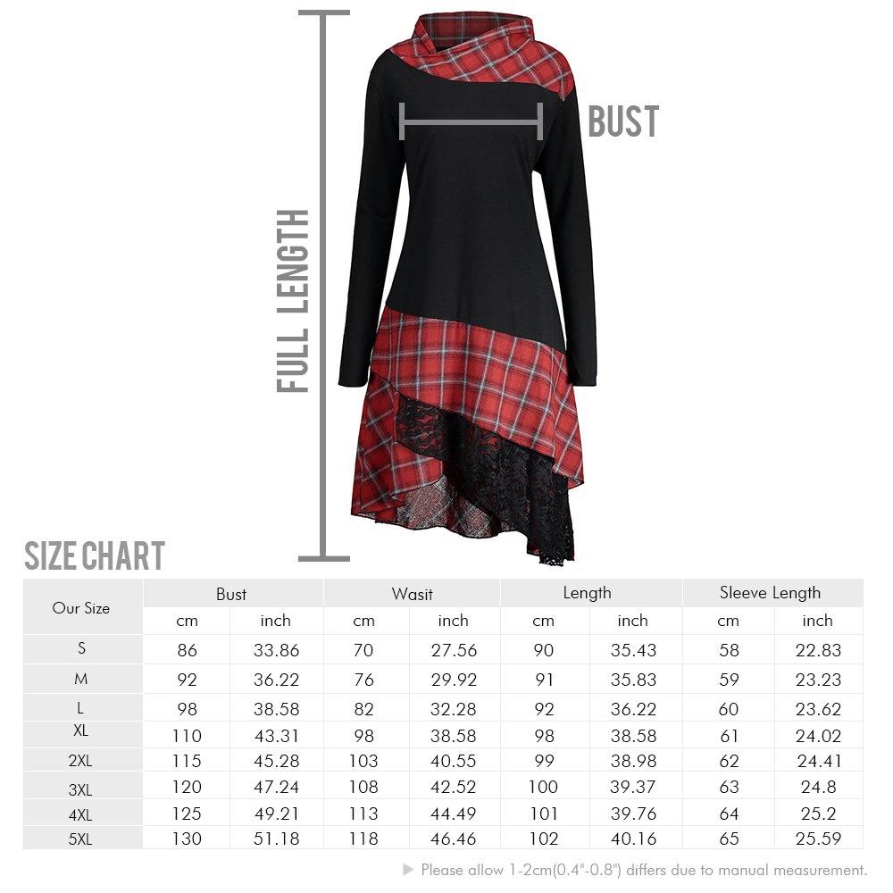 ad17a7d7a9 CharMma Women s Plus Size Mock Neck Lace Plaid Panel Long Top Blouses at Amazon  Women s Clothing store