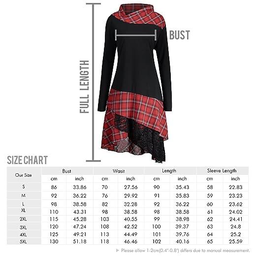 35ce4b00dcb9 CharMma Women s Plus Size Mock Neck Lace Plaid Panel Long Top Blouses at  Amazon Women s Clothing store