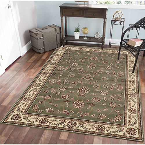 Admire Home Living Radici 1596-1806-SAGE Como Rectangular Sage Green Traditional Italy Area Rug44; 9 ft. 10 in. W x 12 ft. 10 in. (Amalfi Oriental Area Rug)