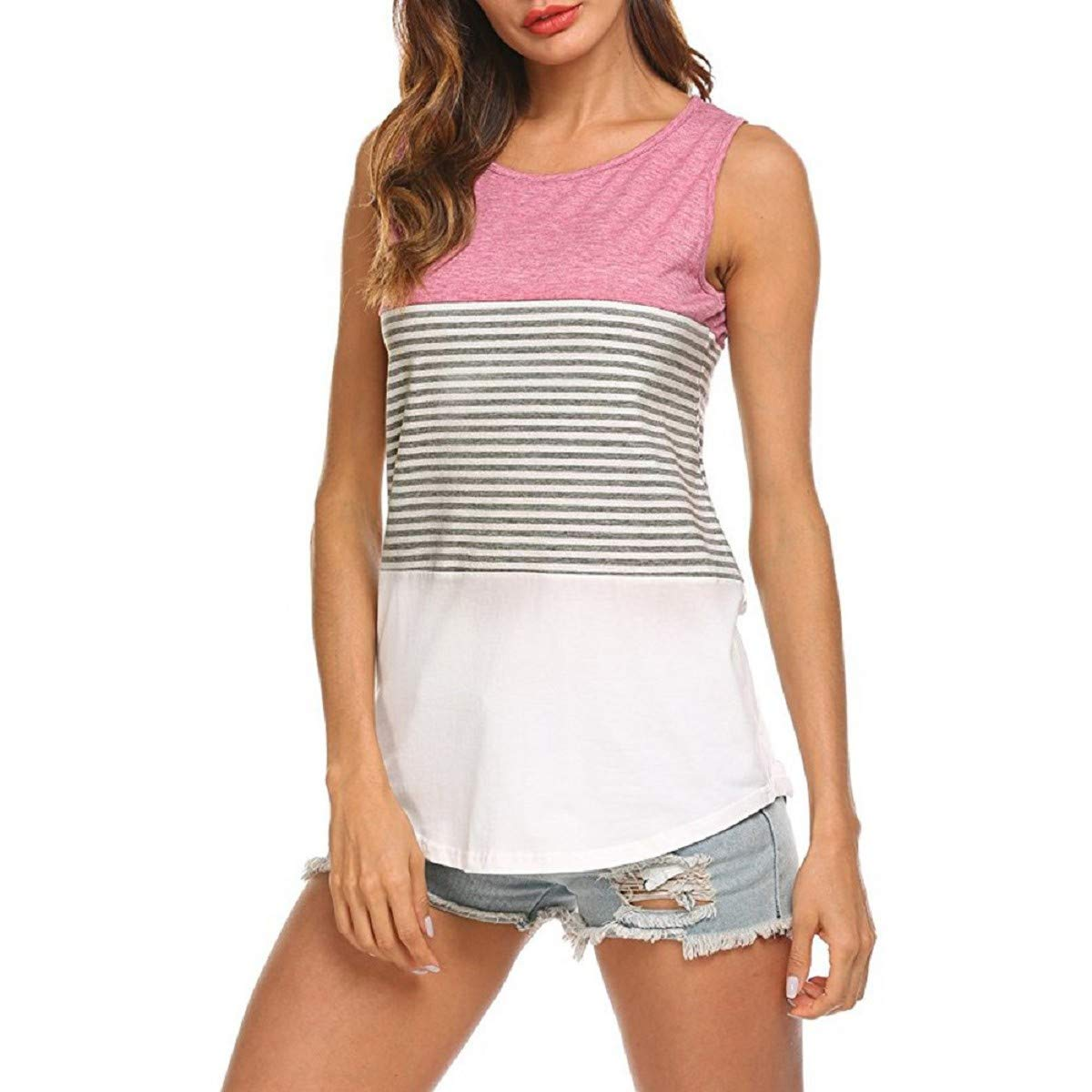 OTINICE Woman's Loose Tank Tops Summer Sleeveless Color Block Striped Casual T-Shirt Blouse Pink
