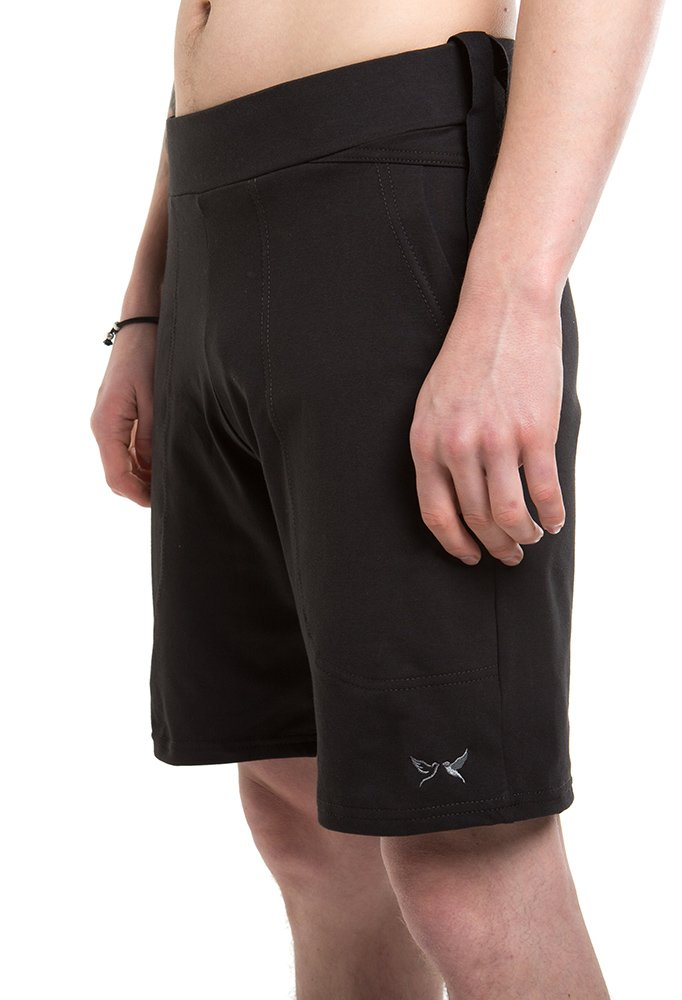 Designed For Ultimate Comfort And Stretch. Born Peaceful Yoga Pilates Black Shorts For Men
