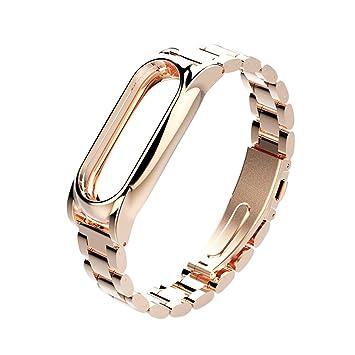 Correa de repuesto Miband 2 para Xiaomi Band 2, de acero inoxidable, con hebilla, con sistema de extracción del reloj, color oro rosa