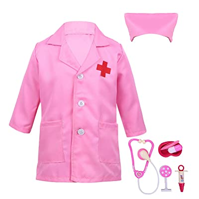 iiniim Kids Boys Girls White Lab Coat Nurse Doctor Uniform Role Play Dress up Costumes with Medical Knit Play Tools Set: Clothing