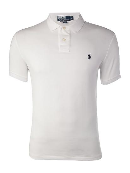 Polo Ralph Lauren Slim Fit Pique Mesh Polo Shirt (White, Small) b143e59da4