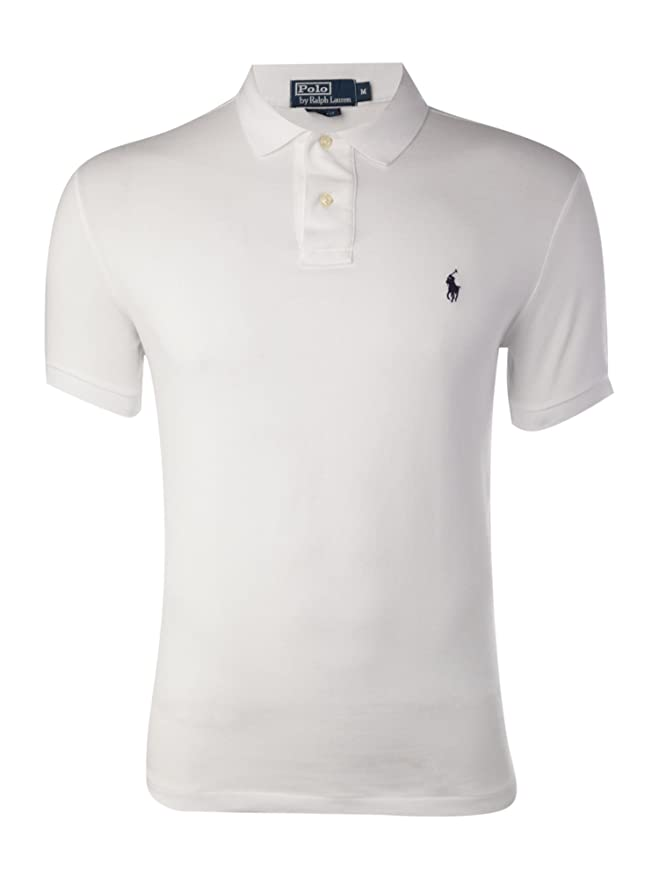 Polo Ralph Lauren, polo slim fit piqué de hombre (Small, Blanco ...