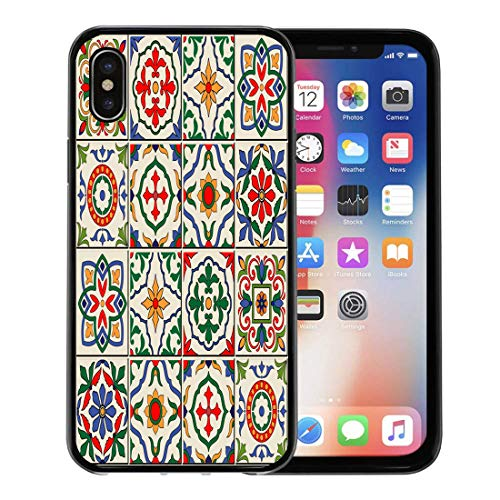 - Semtomn Phone Case for Apple iPhone Xs case,Blue Spanish Gorgeous White Colorful Moroccan Portuguese Tiles Azulejo Ornaments Pattern Fills Mosaic for iPhone X Case,Rubber Border Protective Case,Black