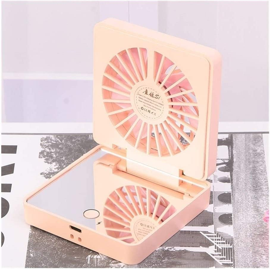 XIAOF-FEN Mirror Small Fan Portable Mini USB Handheld Mute Folding Fan Outdoor Personal Fan USB Fan Color : Purple